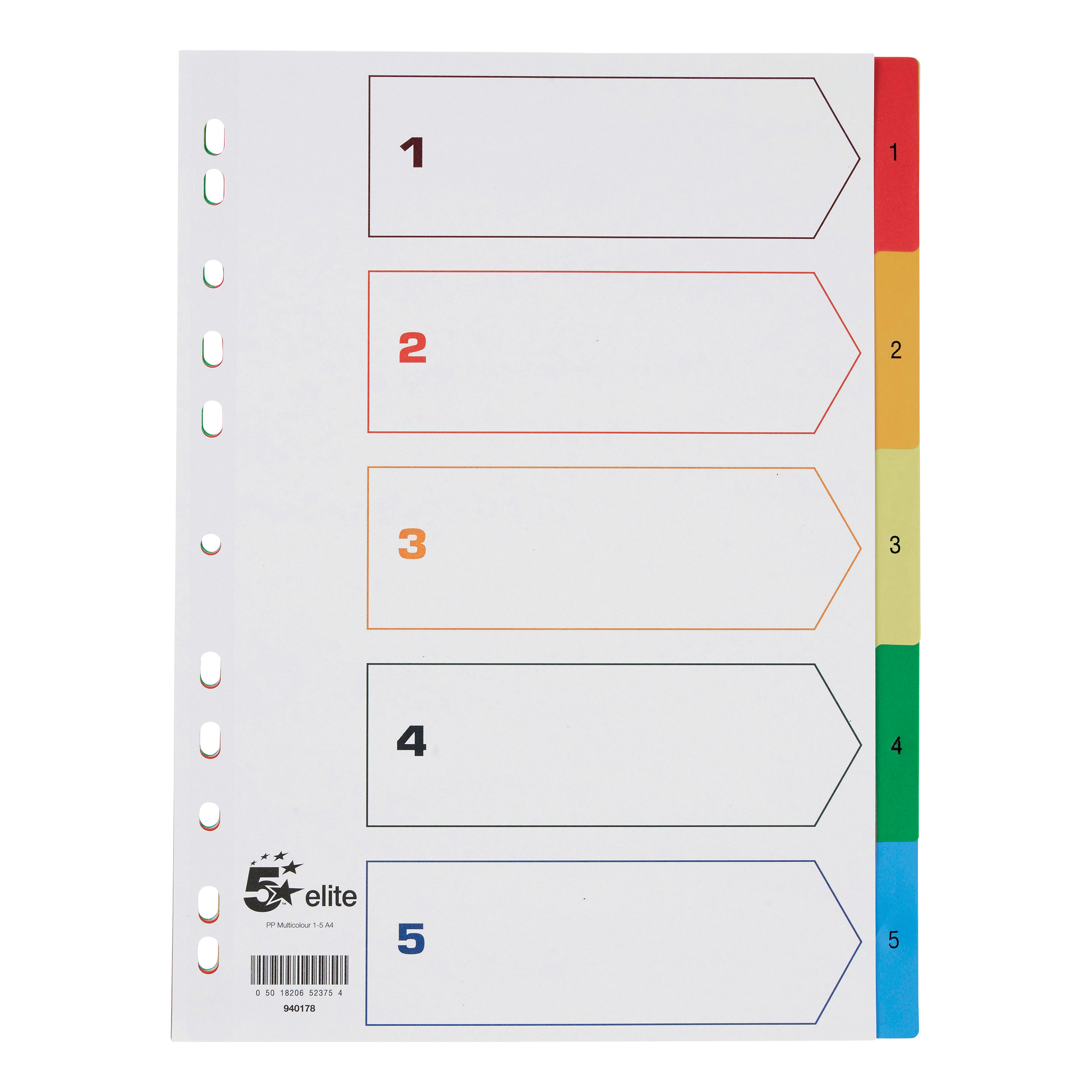 5 Star Elite Index 1-5 Polypropylene Multipunched Reinforced Multicolour-Tabs 120 Micron A4 White