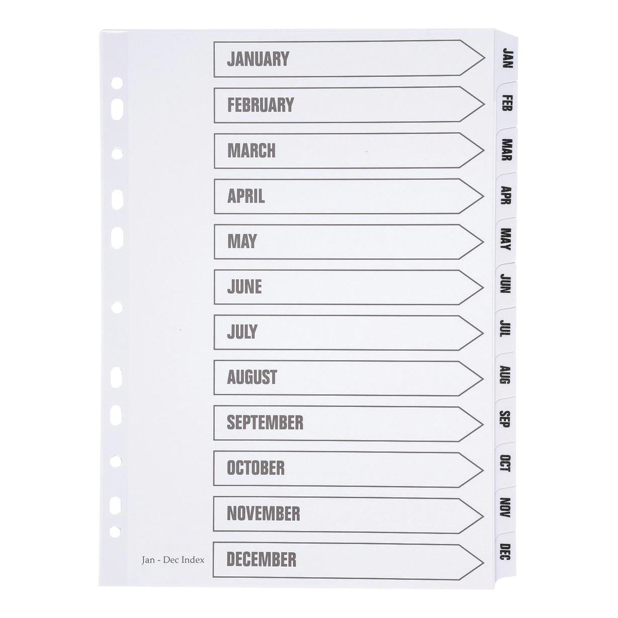 Indexes 5 Star Office Index Jan-Dec Multipunched Mylar-reinforced Strip Tabs 150gsm A4 White