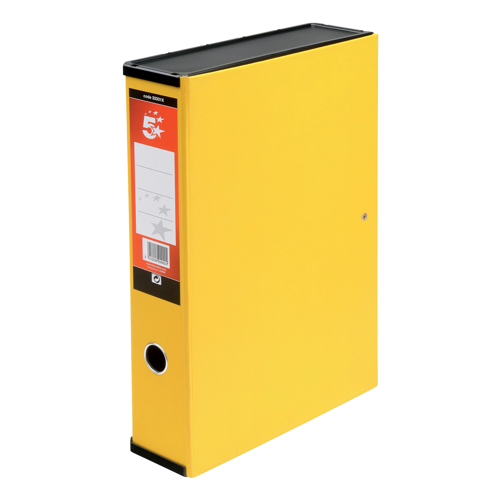 Box Files 5 Star Office Box File 75mm Spine Lock Spring Foolscap Yellow Pack 5