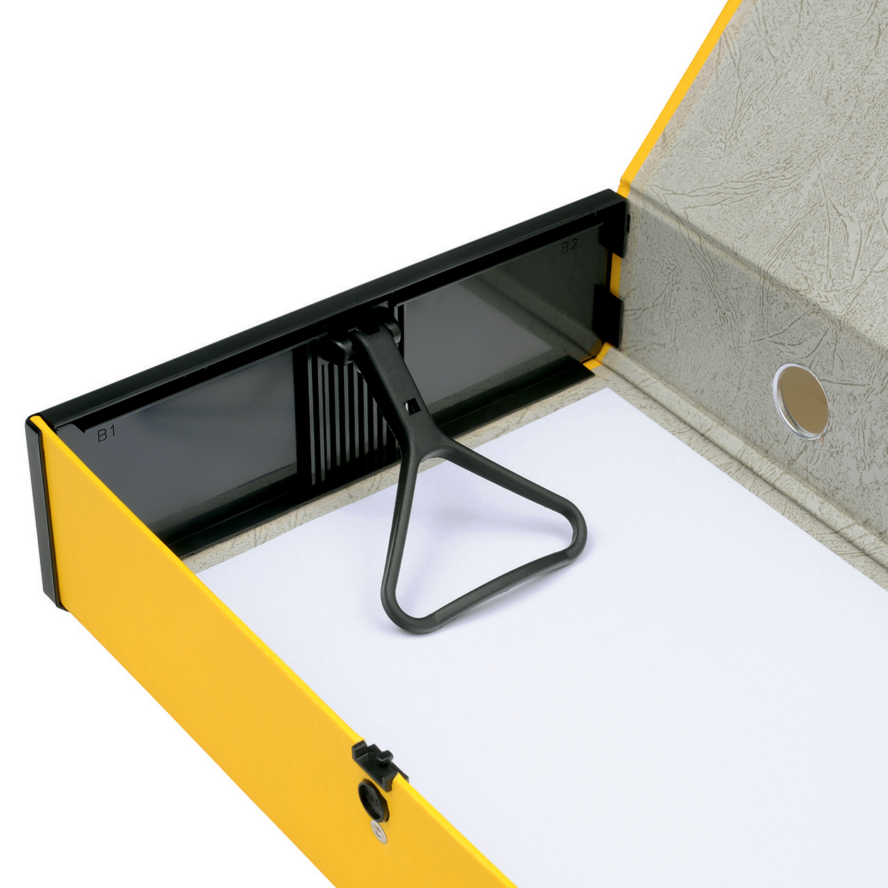 5 Star Office Box File 75mm Spine Lock Spring Foolscap Yellow Pack 5