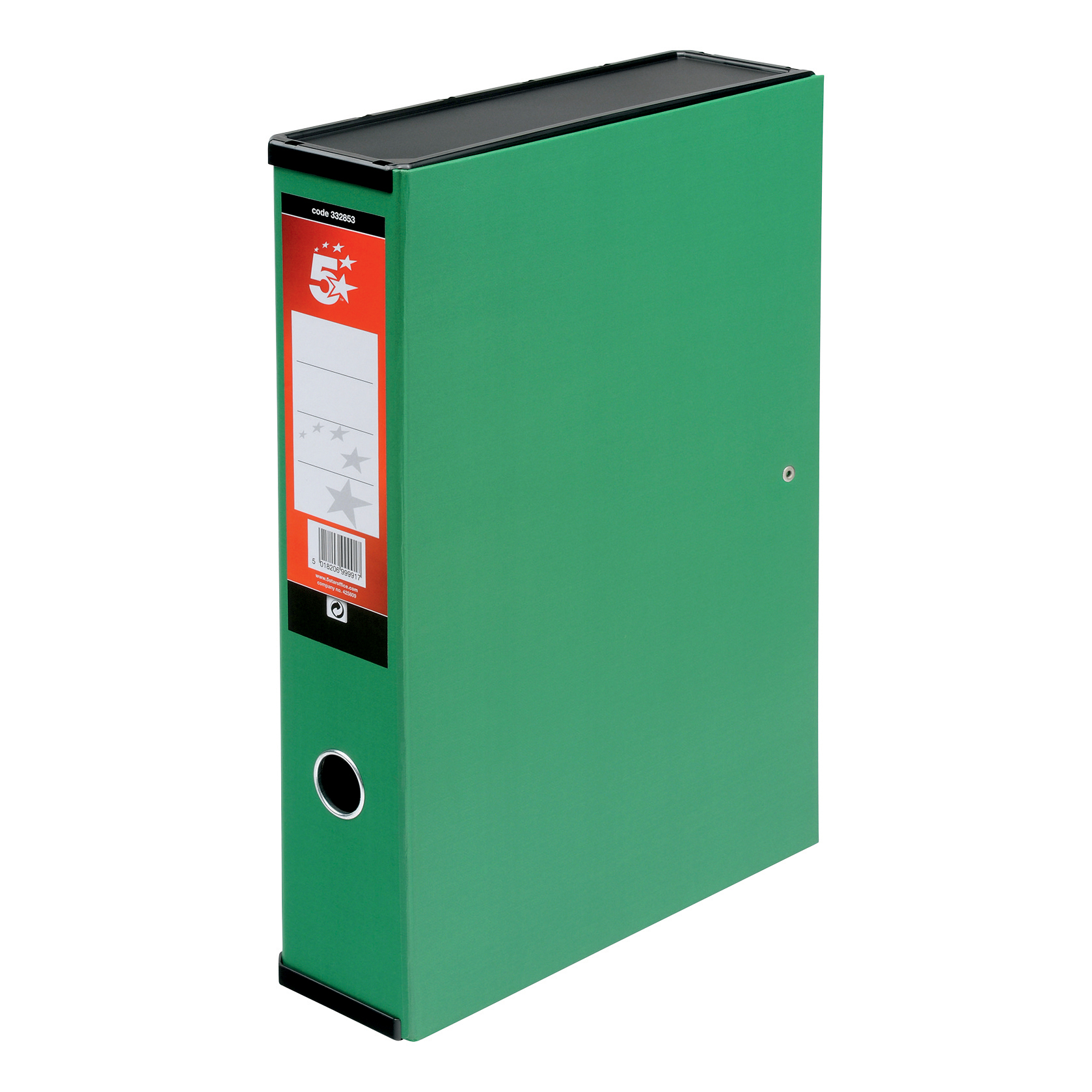 5 Star Office Box File 75mm Spine Lock Spring Foolscap Green [Pack 5]