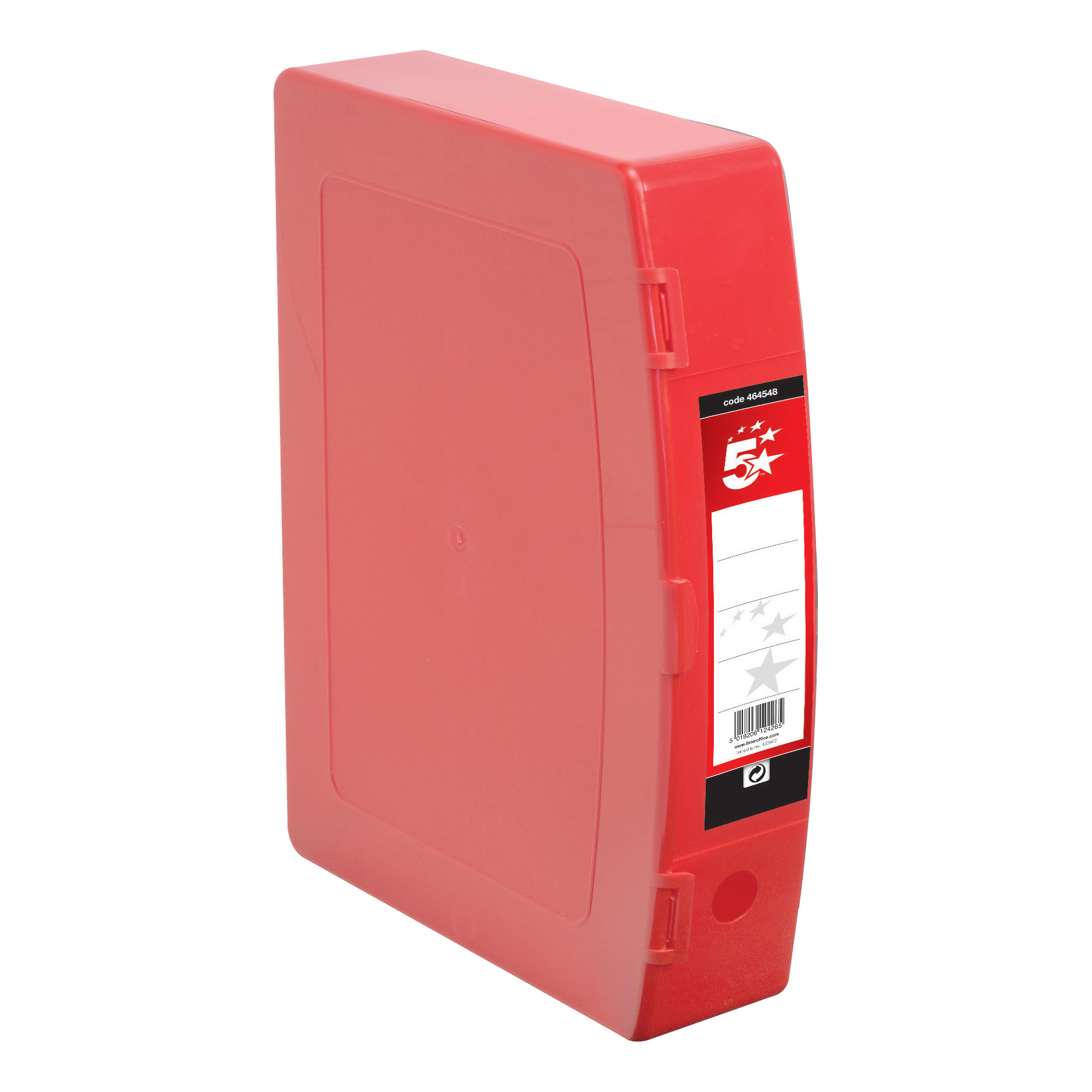 Box Files 5 Star Office Box File Capacity 70mm Polypropylene Twin Clip Lock Foolscap Red