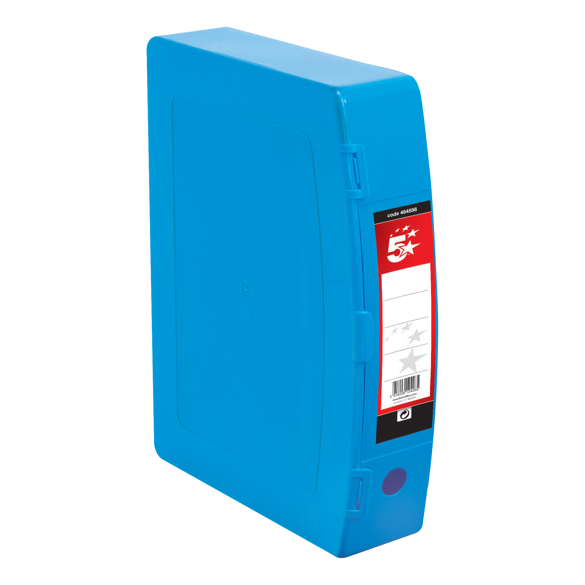 5 Star Office Box File Capacity 70mm Polypropylene Twin Clip Lock Foolscap Blue