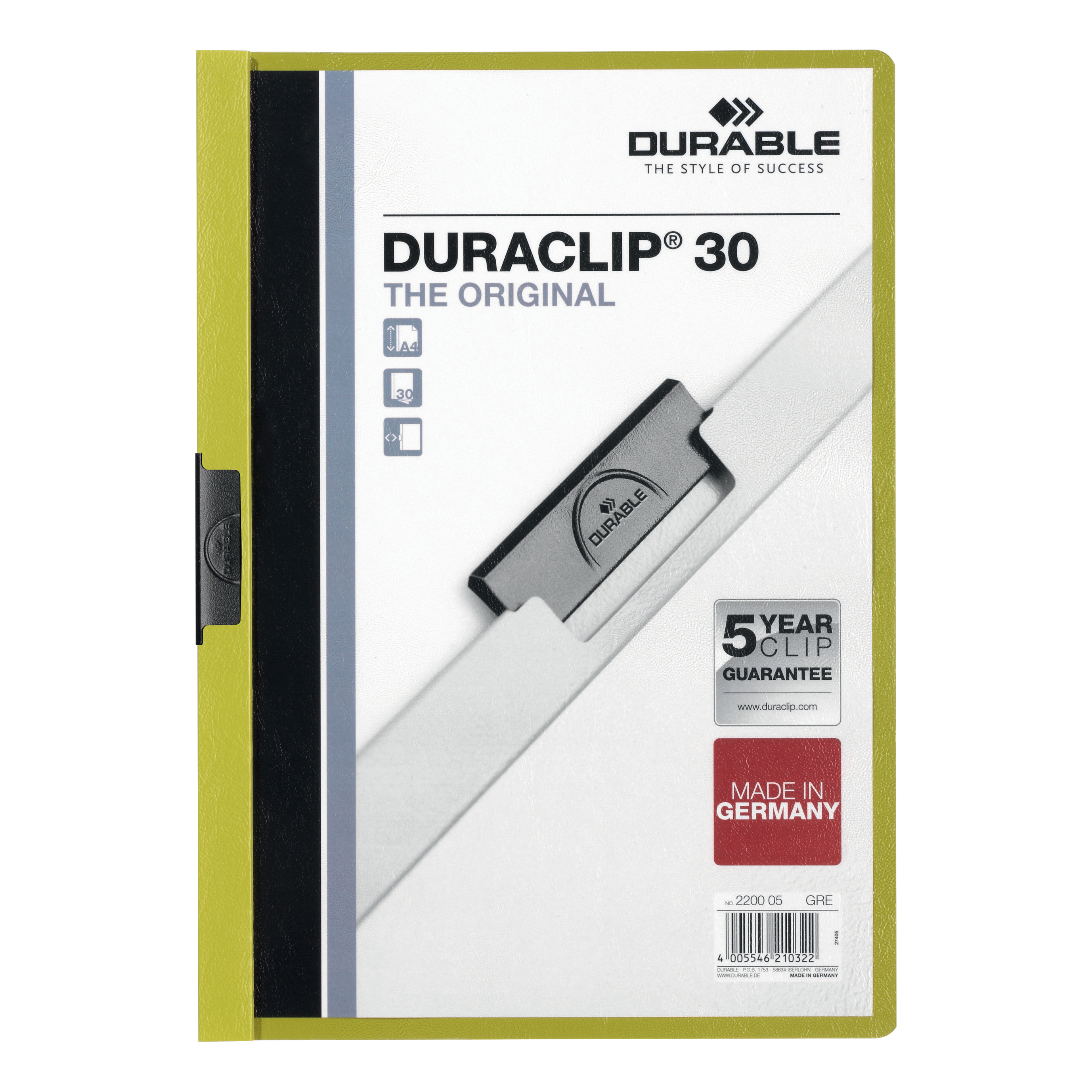 Durable Duraclip Folder PVC Clear Front 3mm Spine for 30 Sheets A4 Green Ref 2200/05 [Pack 25]