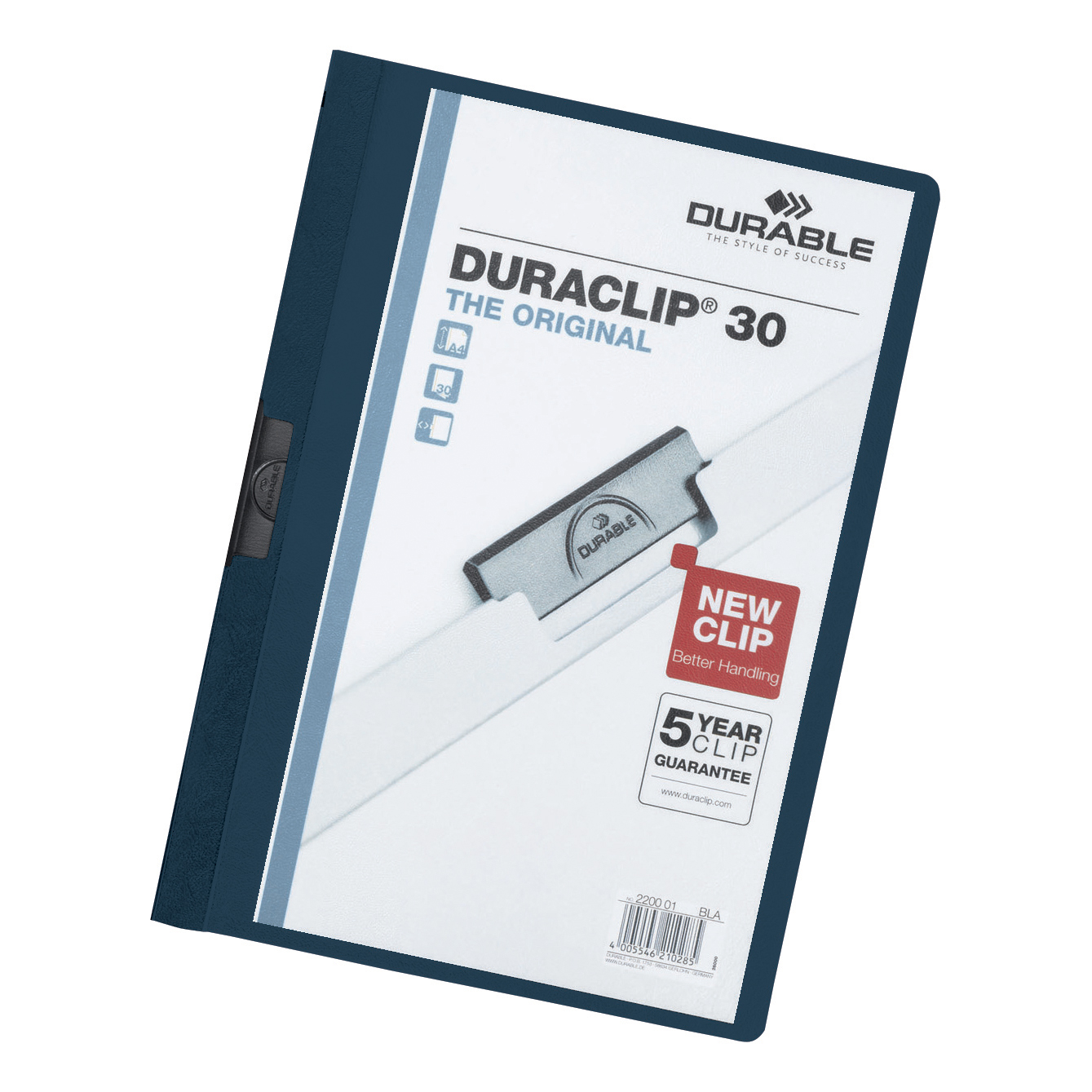Durable Duraclip Folder PVC Clear Front 3mm Spine for 30 Sheets A4 Dark Blue Ref 2200/28 Pack 25