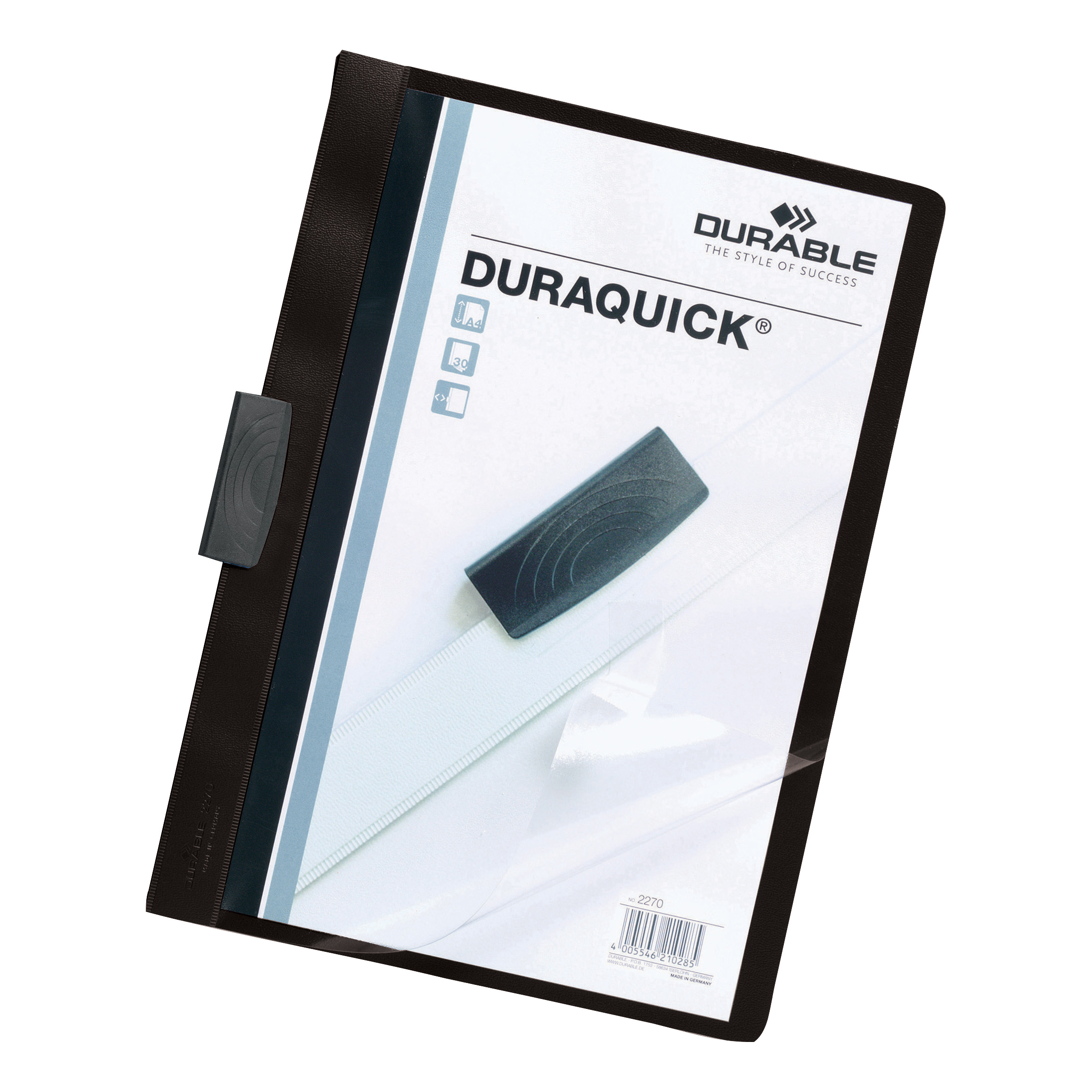 Part Files Durable Duraquick Clip Folder PVC Clear Front A4 Black Ref 2270/01 [Pack 20]