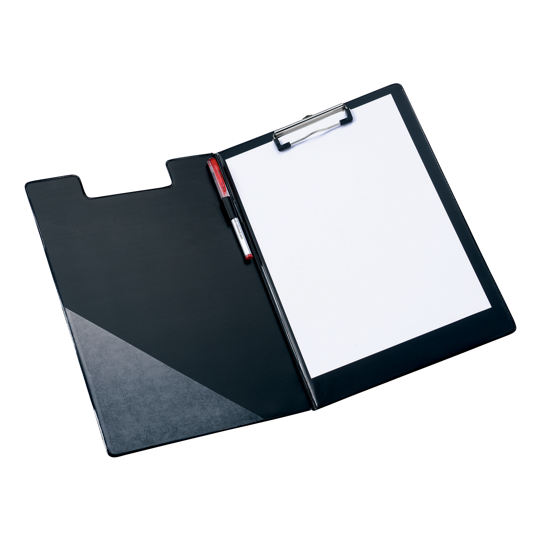 5 Star Office Fold-over Clipboard with Front Pocket Foolscap Black
