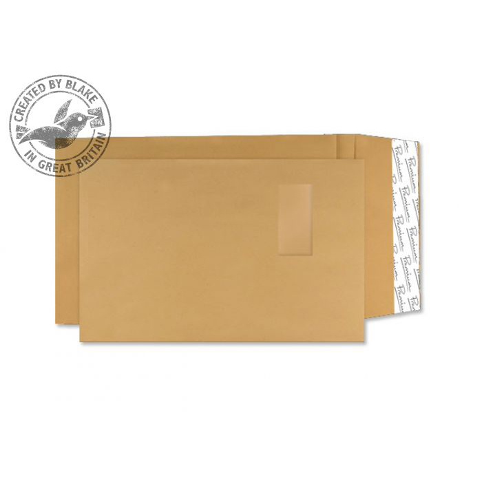 Gusset Envelopes Blake Premium AvantGarde Pocket Wndw P&S Cream Manilla C4 130gsm Ref AG0048 Pk250 *10 Day Leadtime*