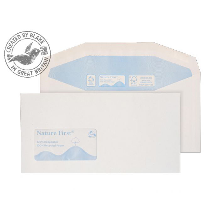 Purely Environmental Mailer Gummed Wndw 90gsm DL114x229mm White Ref RN0015 Pk1000 3to5 Day Leadtime