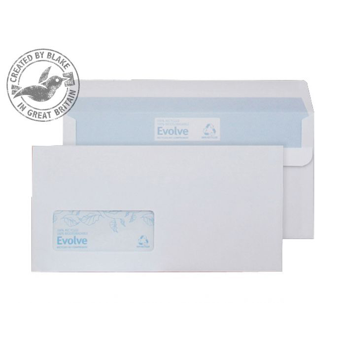 DL Purely Environmental Wallet Self Seal Wndw White 90gsm DL Ref RD7884 Pk1000 *10 Day Leadtime*