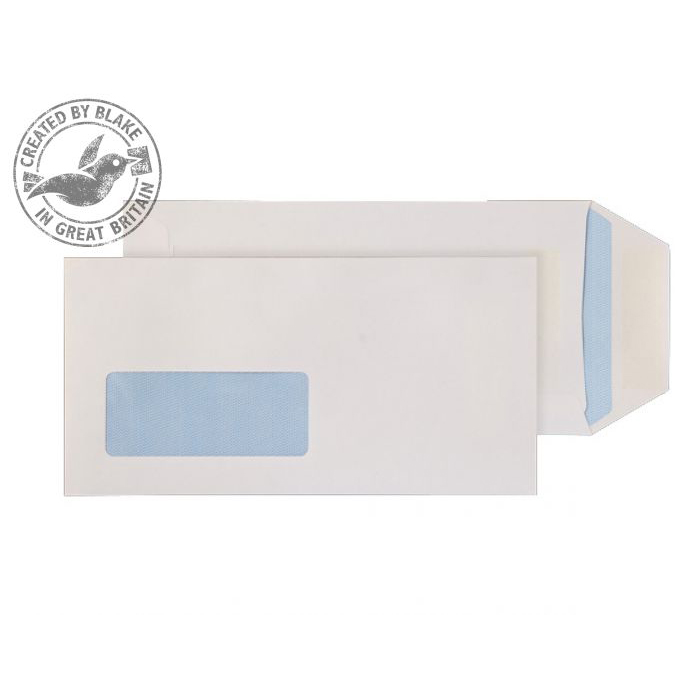 Purely Everyday Pocket Self Seal Low Wndw White 90gsm DL Ref 86788W Pk1000 10 Day Leadtime