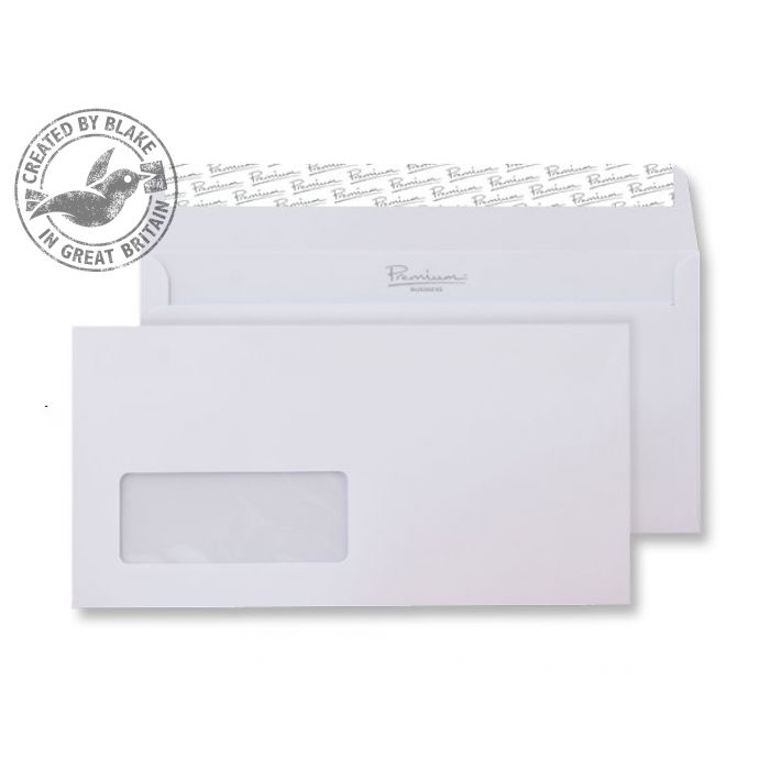 Blake Premium Business Wallet Wndw P&S Ice White Wove DL 120gsm Ref 31884 Pk500 *10 Day Leadtime*