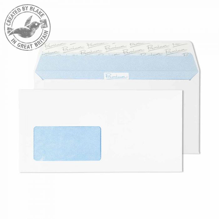 Premium Office Ultra White Wove Wallet P&S German Wndw DL Ref 32226DE Pk500 *10 Day Leadtime*