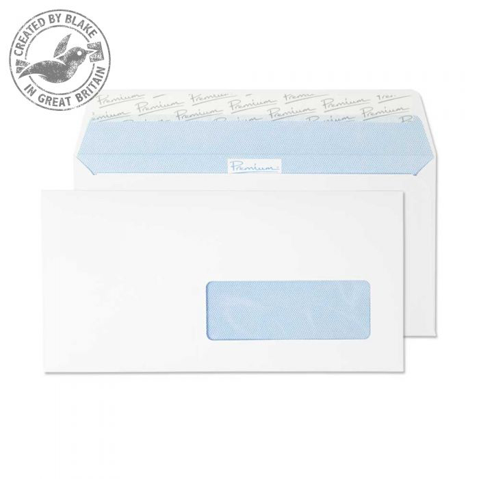 Premium Office Ultra White Wove Wallet P&S French Wndw DL Ref 32236FR Pk500 *10 Day Leadtime*