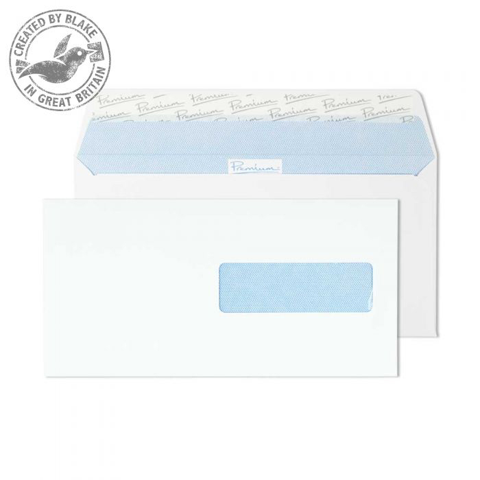 Premium Office Ultra White Wove Wallet P&S Swedish Wndw DL Ref 32276SE Pk500 *10 Day Leadtime*