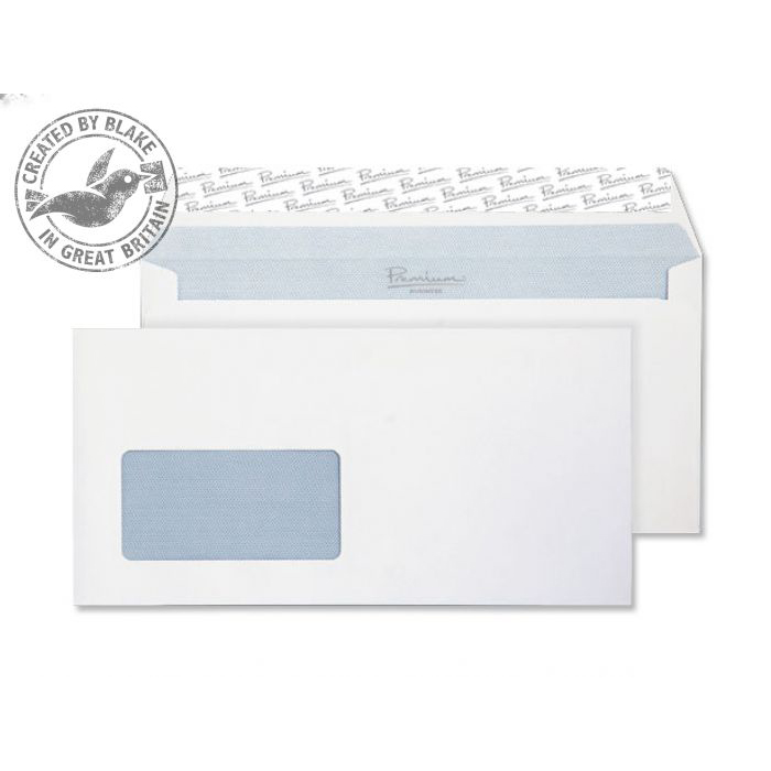 Blake Prem Off Wallet Wndw P&S Ult White Wove DL+ 114x229 120gsm Ref 33216 Pk500 *10 Day Leadtime*