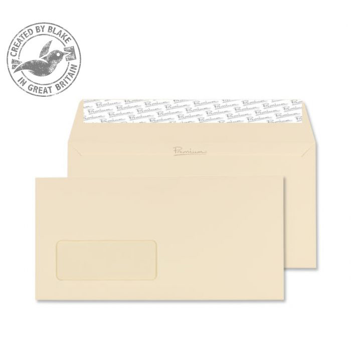 Blake Premium Business Wallet Wndw P&S Cream Wove DL 120gsm Ref 61884 Pk500 10 Day Leadtime