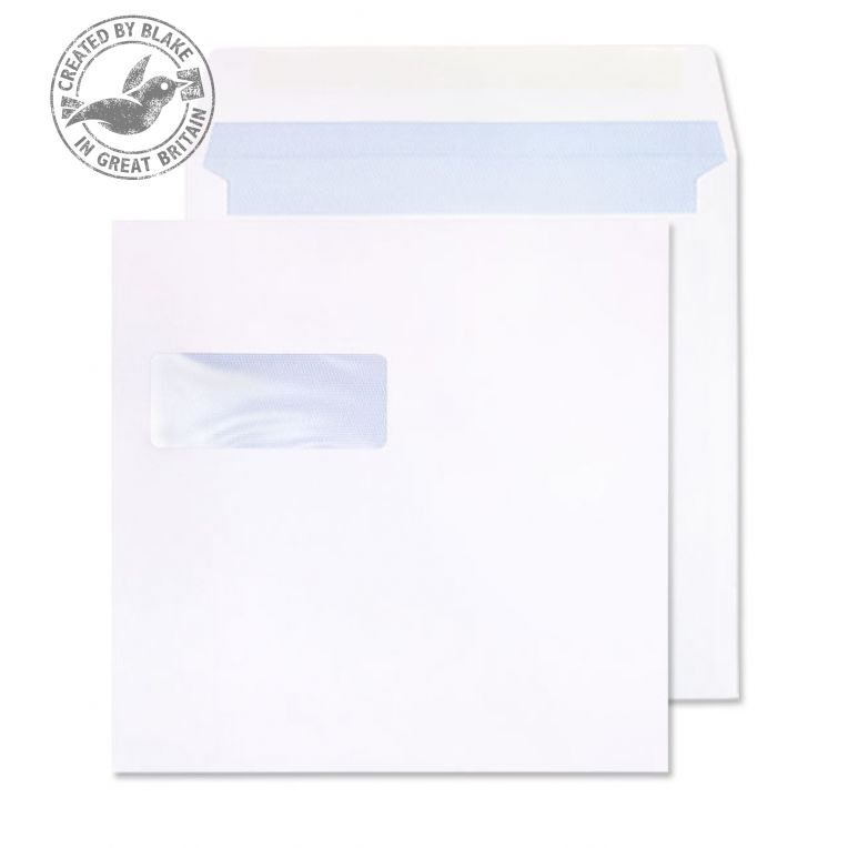 Purely Everyday Square Wallet Gummed Window White 100gsm 190x190 Ref 0190W Pk 500 10 Day Leadtime