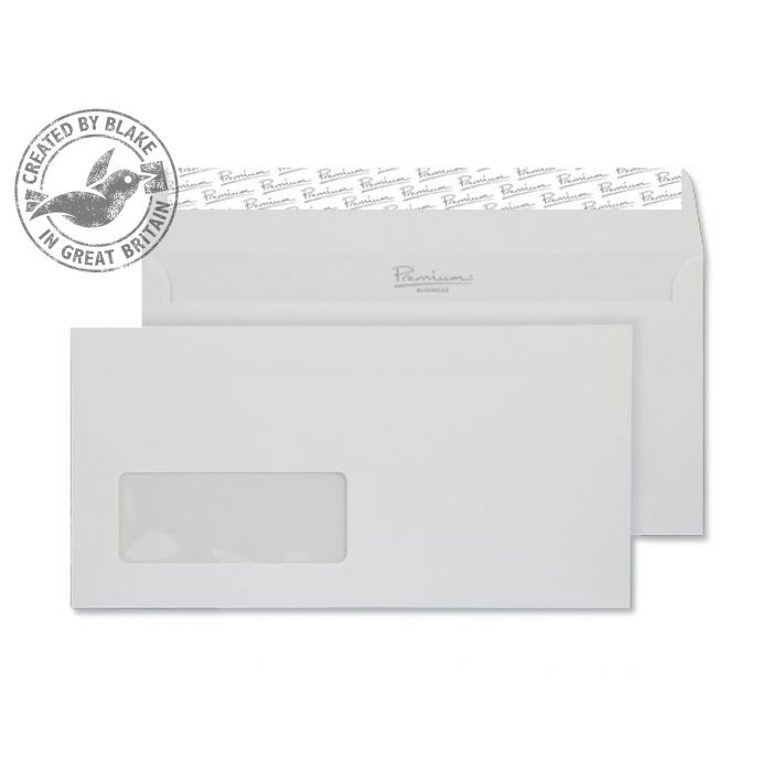 Blake Premium Bus Wallet Wndw P&S Diamond White Smooth DL 120gsm Ref 36884 Pk500 10 Day Leadtime