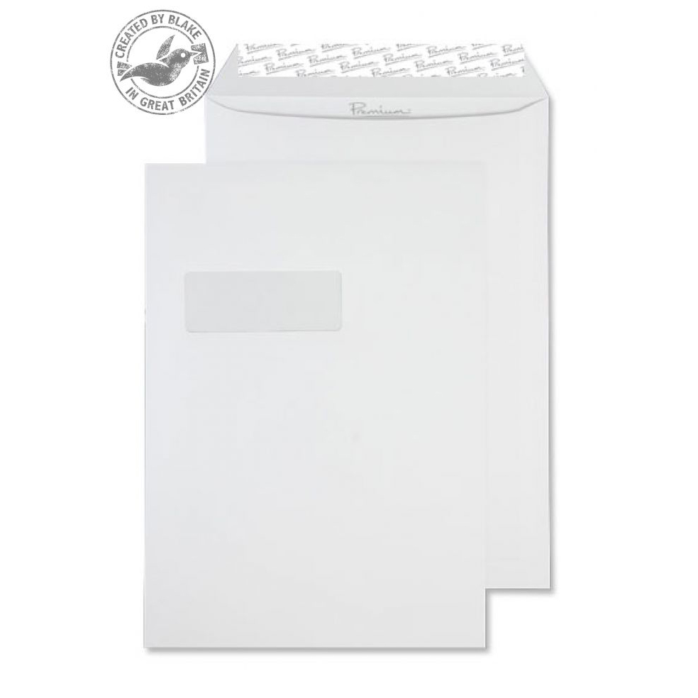 Blake Premium Business Pocket Wndw P&S High White Wove C4 120gsm Ref 35892 Pk250 *10 Day Leadtime*