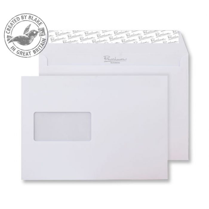 Blake Premium Business Wallet Wndw P&S Ice White Wove C5 120gsm Ref 31708 Pk500 *10 Day Leadtime*