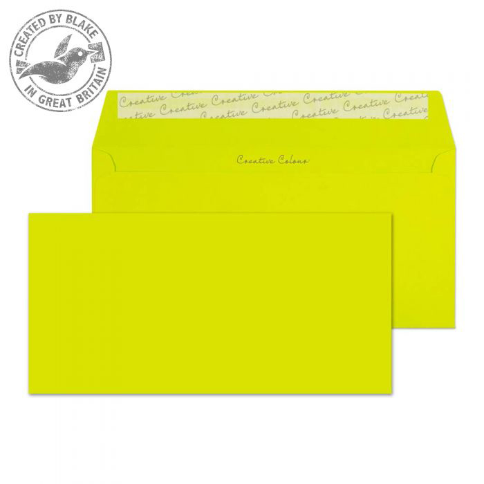 Creative Colour Wallet P&S Acid Green 120gsm DL+ 114x229mm Ref 241 [Pack 500] 10 Day Leadtime