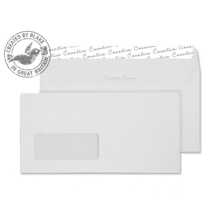 Creative Colour Wallet P&S Window Ice White 120gsm DL+ 114x229mm Ref 250W Pk 500 *10 Day Leadtime*