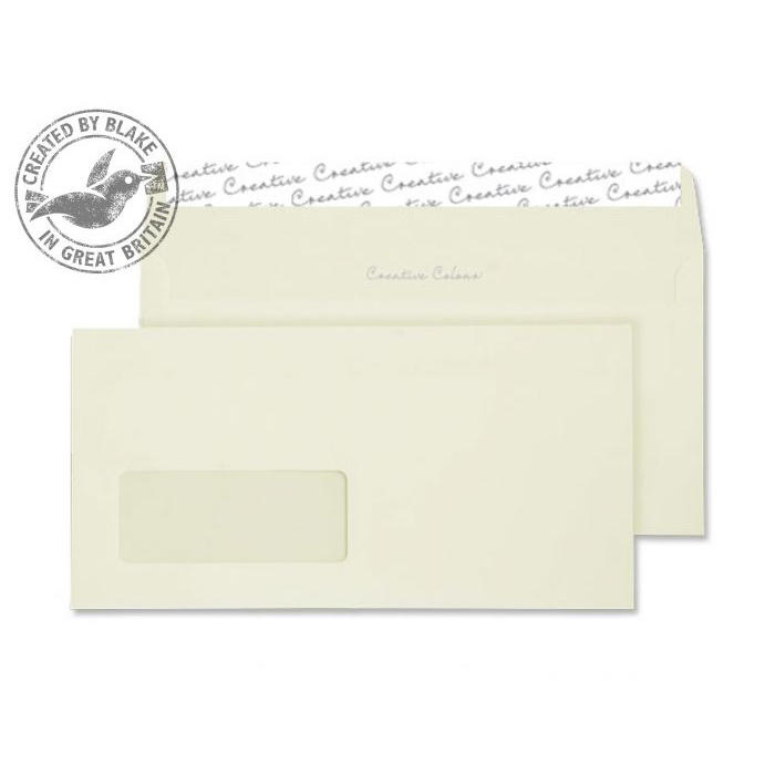 Creative Colour Wallet P&S Window Clotted Cream 120gsm DL+ 114x229 Ref 253W Pk500 *10 Day Leadtime*