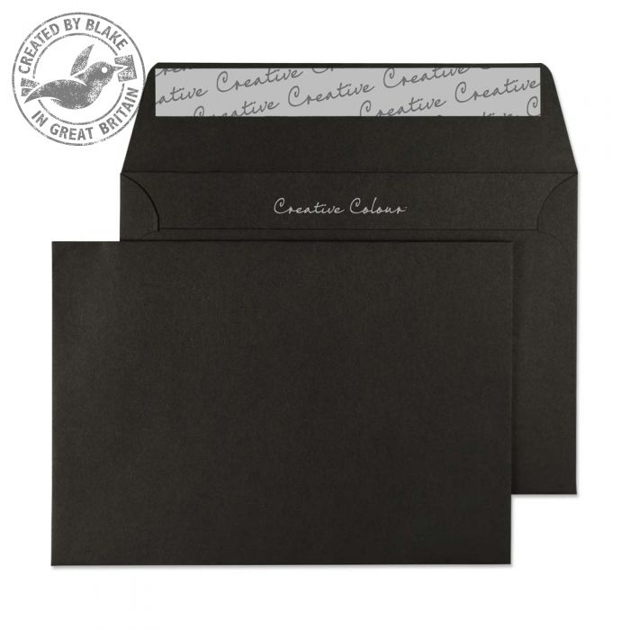 Creative Colour Jet Black Peel and Seal Wallet C6 114x162mm Ref 114 [Pack 500] *10 Day Leadtime*