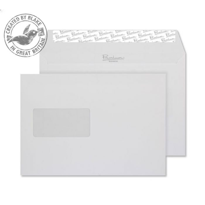 Blake Premium Bus Wallet Wndw P&S Diamond White Laid C5 120gsm Ref 91708 Pk500 10 Day Leadtime