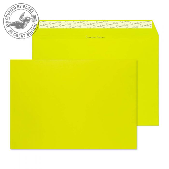 Creative Colour Acid Green Peel and Seal Wallet C4 229x324mm Ref 441 [Pack 250] 10 Day Leadtime
