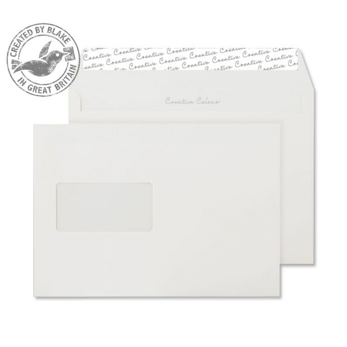 Creative Colour Wallet P&S Window Ice White 120gsm C5 162x229mm Ref 350W Pk 500 *10 Day Leadtime*