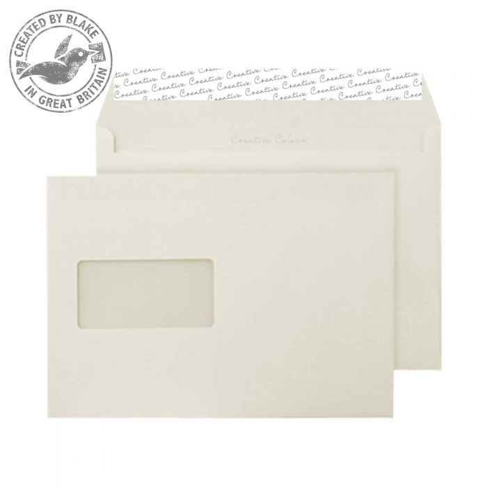 Creative Colour Wallet P&S Window Clotted Cream 120gsm C5 162x229 Ref 353W Pk 500 *10 Day Leadtime*