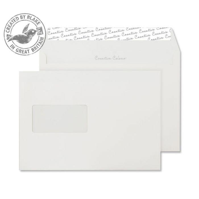 Creative Colour Wallet P&S Window Chalk White 120gsm C5 162x229mm Ref 355W Pk 500 10 Day Leadtime