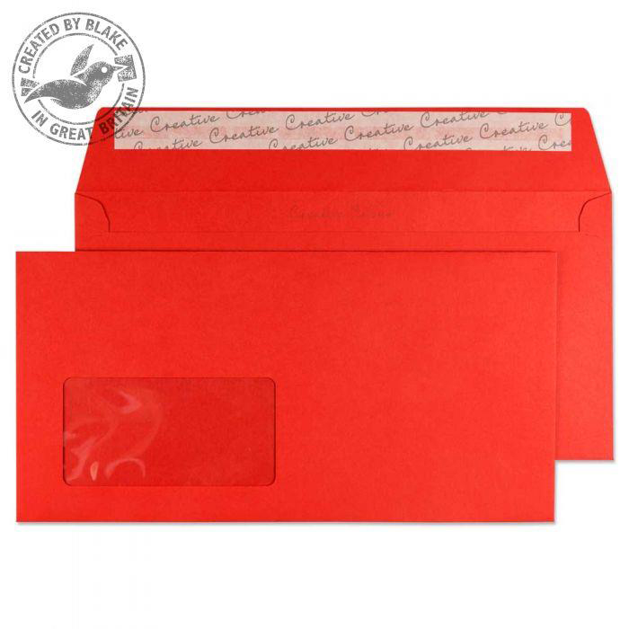 Creative Colour Wallet P&S Wndw Pillar Box Red 120gsm DL+ 114x229 Ref 206W Pk500 *10 Day Leadtime*