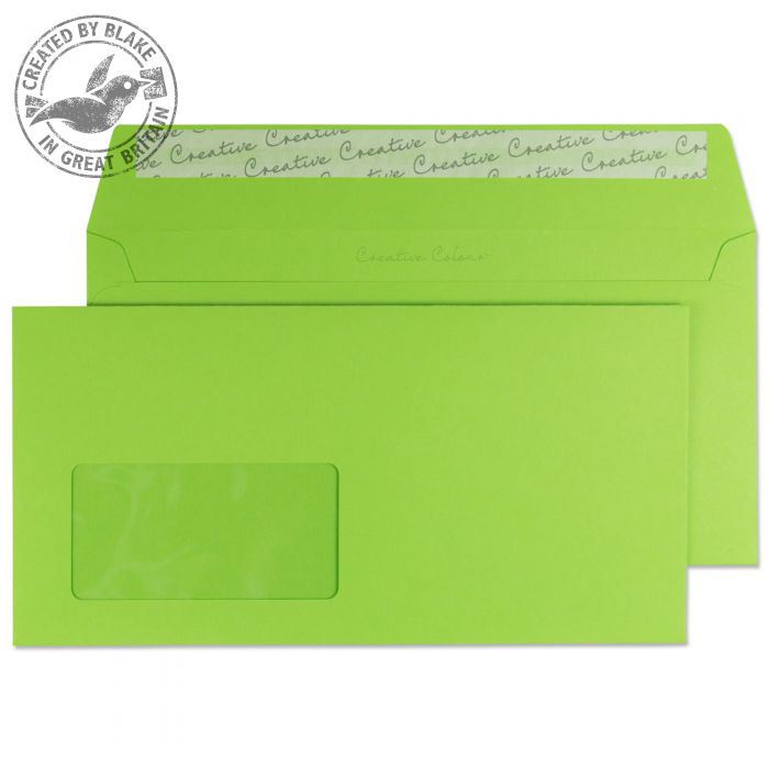 Creative Colour Wallet P&S Window Lime Green 120gsm DL+ 114x229mm Ref 207W Pk 500 *10 Day Leadtime*