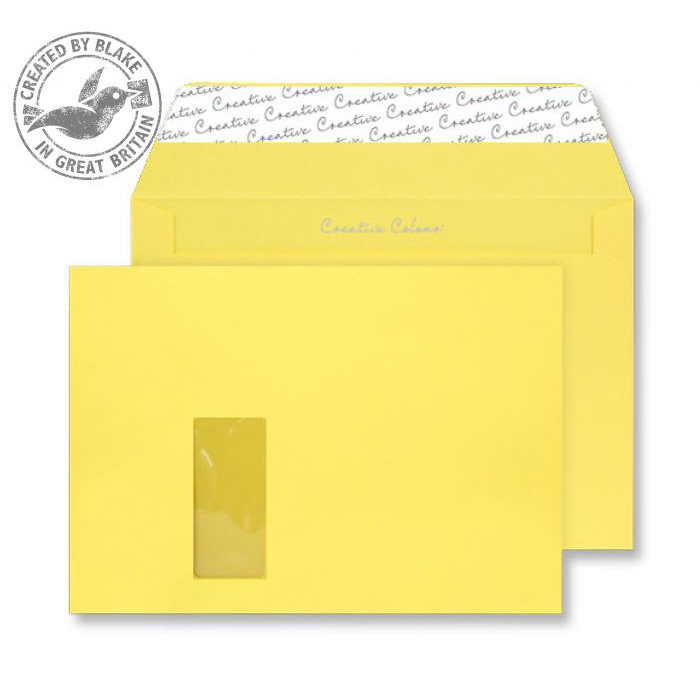 Creative Colour Banana Yellow P&S Wallet Window C4 229x324mm Ref 403W [Pack 250] 10 Day Leadtime