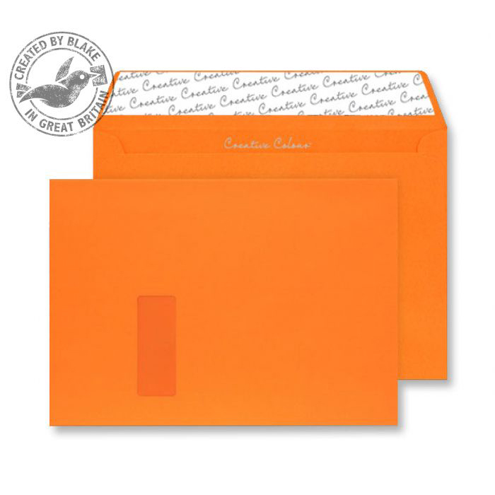 Creative Colour Pumpkin Orange P&S Wallet Window C4 229x324mm Ref 405W [Pack 250] *10 Day Leadtime*