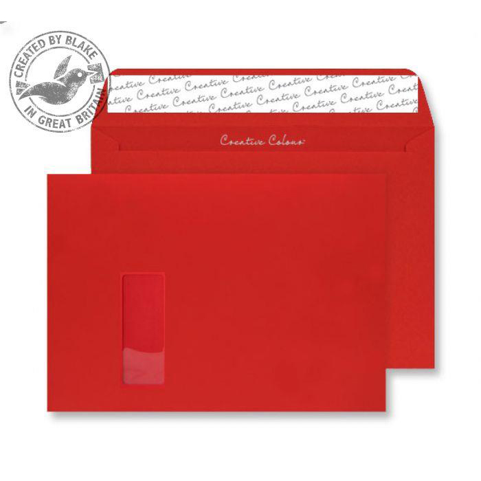 Creative Colour Pillar Box Red P&S Wallet Window C4 229x324mm Ref 406W [Pack 250] 10 Day Leadtime