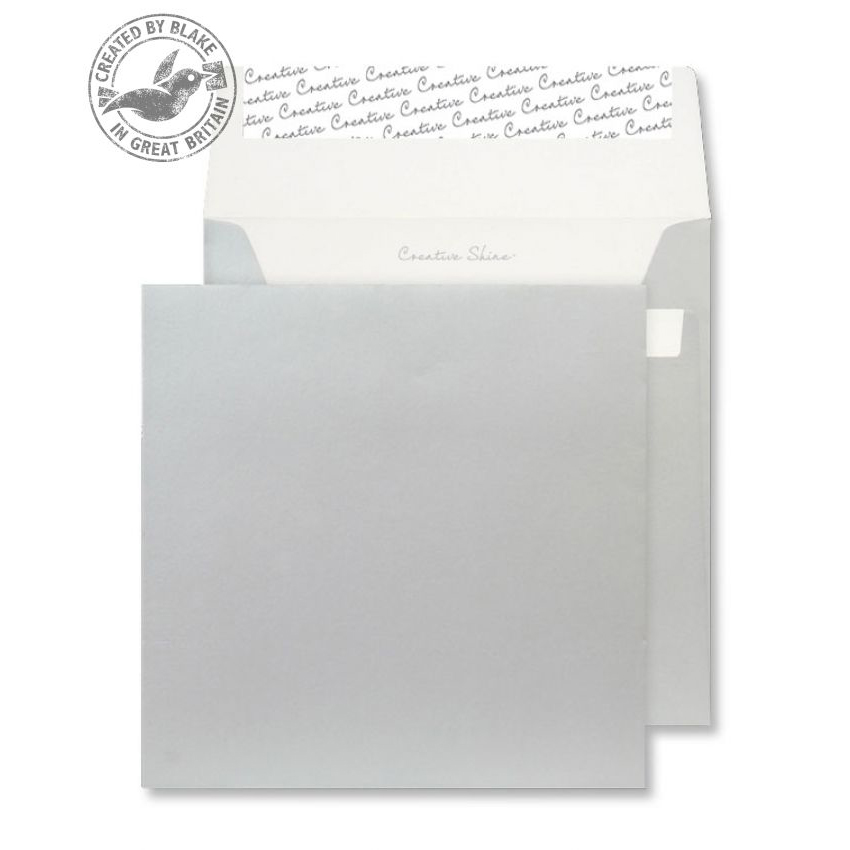 Creative Shine Square Wallet P&S Metallic Silver 130gsm 160x160mm Ref M612 Pk 500 *10 Day Leadtime*