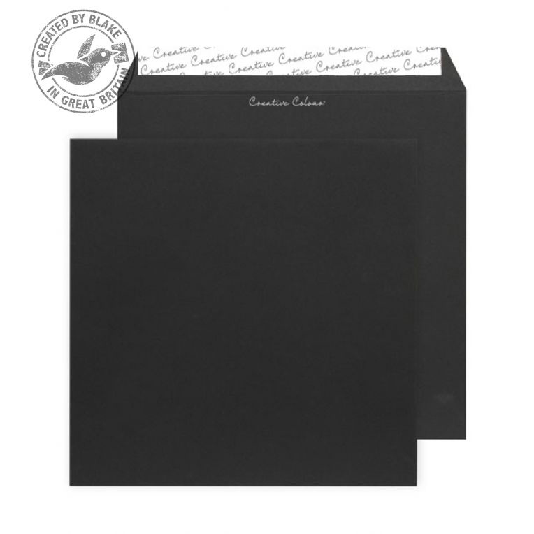 Creative Colour Jet Black Peel and Seal Wallet160x160mm Ref 614 [Pack 500] *10 Day Leadtime*