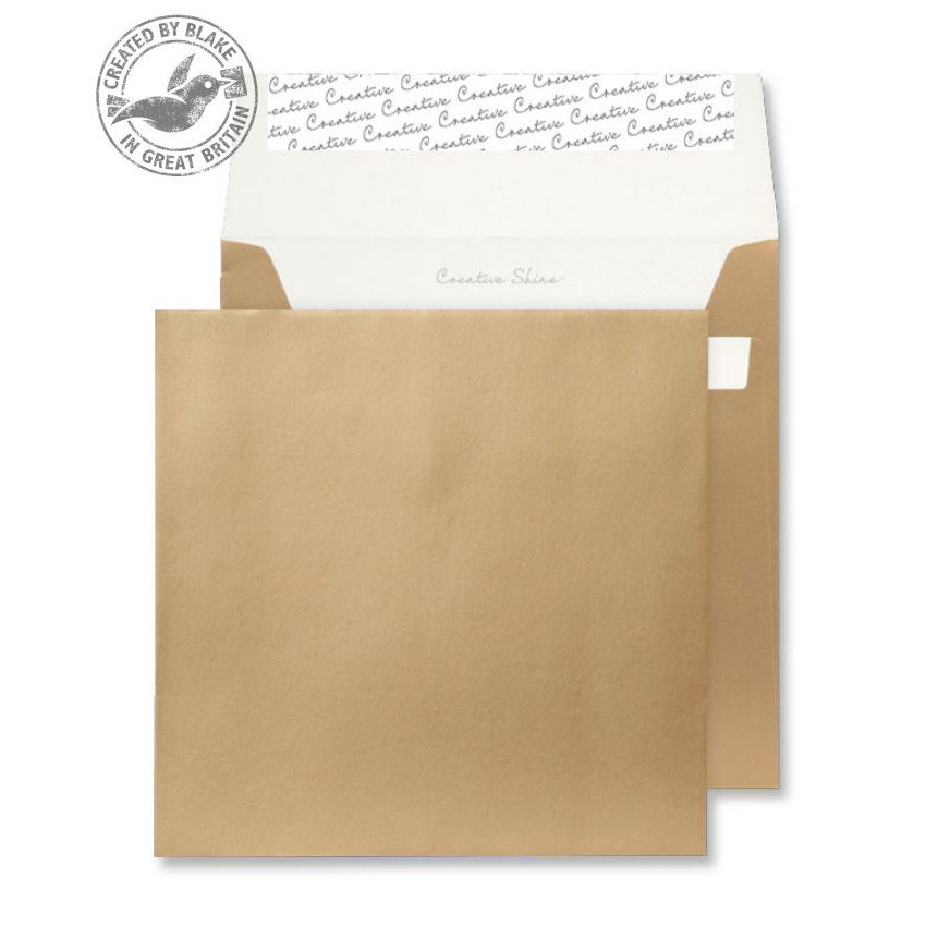 Creative Shine Metallic Gold Peel and Seal Wallet 220x220mm Ref 513 [Pack 250] *10 Day Leadtime*