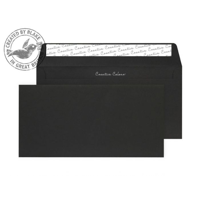 Creative Colour Jet Black Peel and Seal Wallet DL+ 114x229mm Ref 214 [Pack 500] 10 Day Leadtime