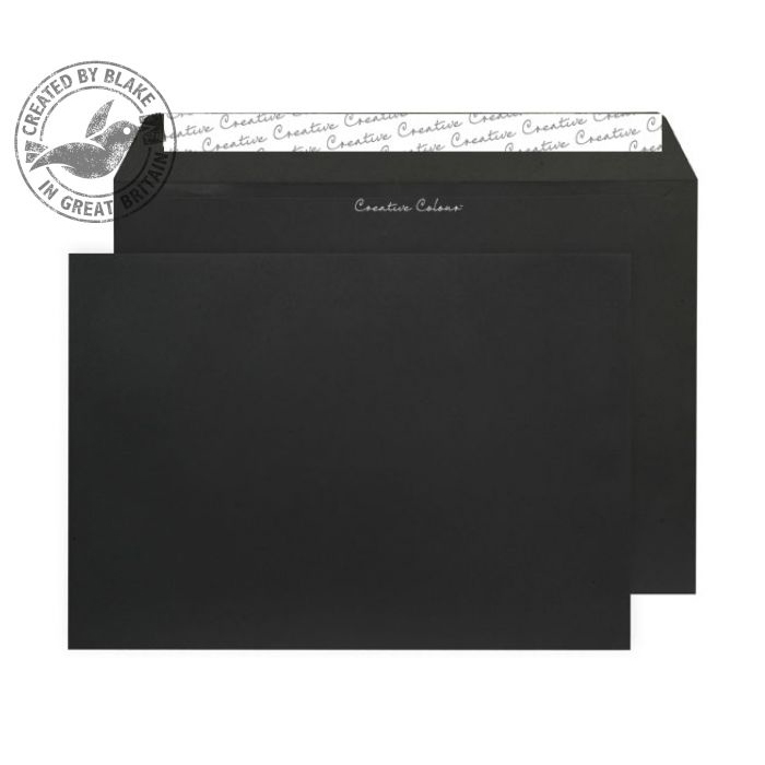 Creative Colour Jet Black Peel and Seal Wallet C4 229x324mm Ref 414 [Pack 250] 10 Day Leadtime
