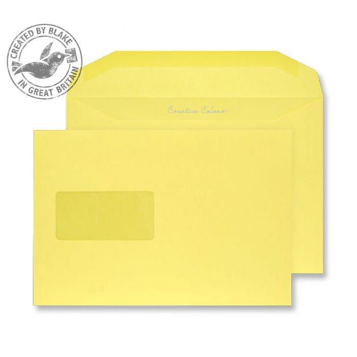 Creative Colour Banana Yellow Gum Wallet Wndw 120gsm C5+ 162x235 Ref 803MW Pk500 *10 Day Leadtime*