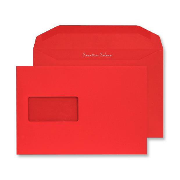 Creative Colour Pillar Box Red Gum Wallet Wndw 120gsm C5+ 162x235 Ref 806MW Pk500 *10 Day Leadtime*