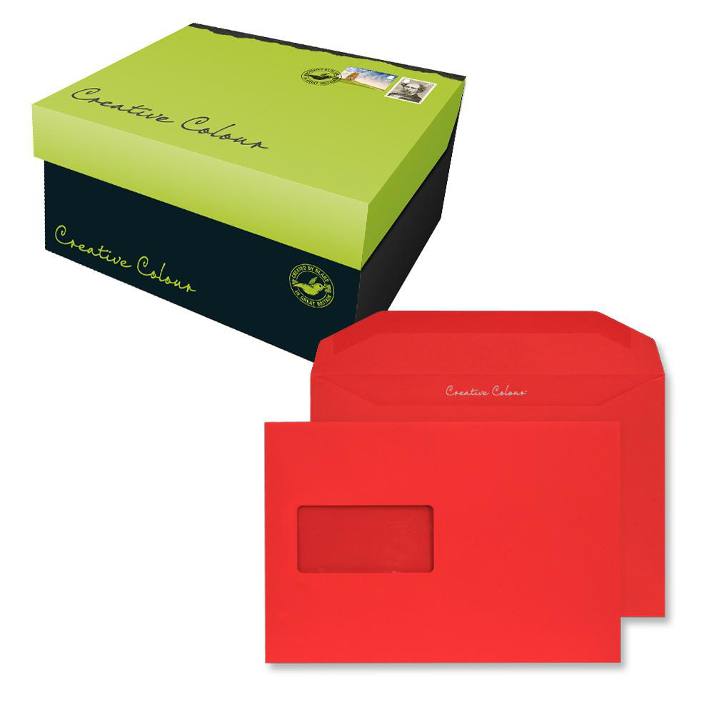 Creative Colour Pillar Box Red Gum Wallet Wndw 120gsm C5+ 162x235 Ref 806MW Pk500 10 Day Leadtime