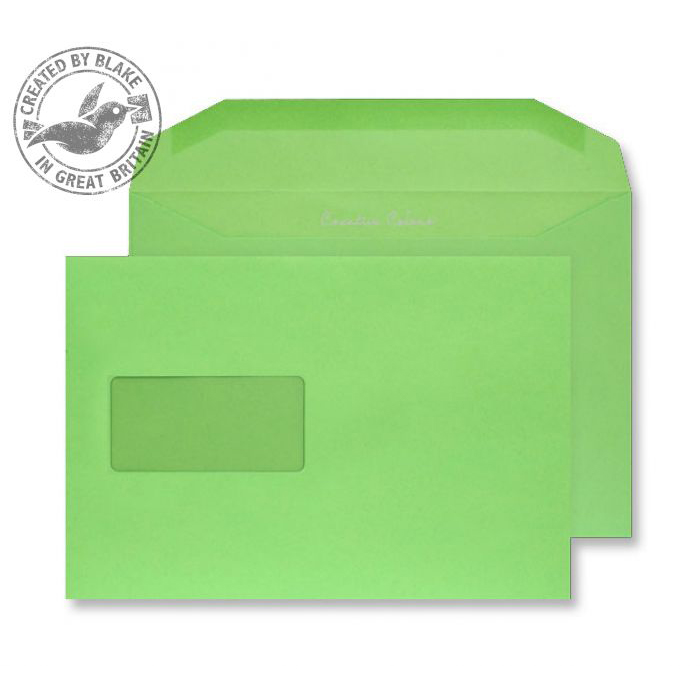 Creative Colour Lime Green Gummed Wallet Wndw 120gsm C5+ 162x235 Ref 807MW Pk500 *10 Day Leadtime*