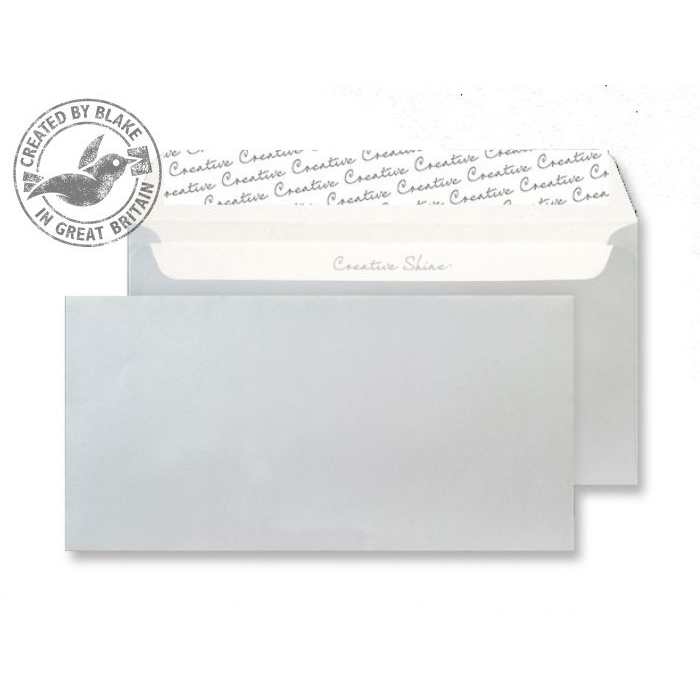 Blake Creative Shine DLWallet Peel&Seal 130gsm Metallic Silver Ref 212 Pack 500 *3to5 Day Leadtime*