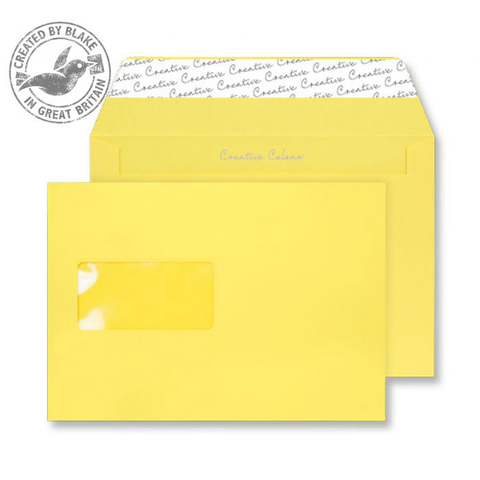C5 Creative Colour Banana Yellow P&S Wallet Window C5 162x229mm Ref 303W Pack 500 *10 Day Leadtime*